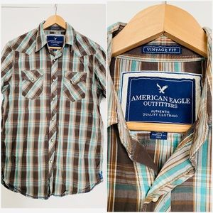 [American Eagle] 🦅 Men's Plaid Snap Button Up